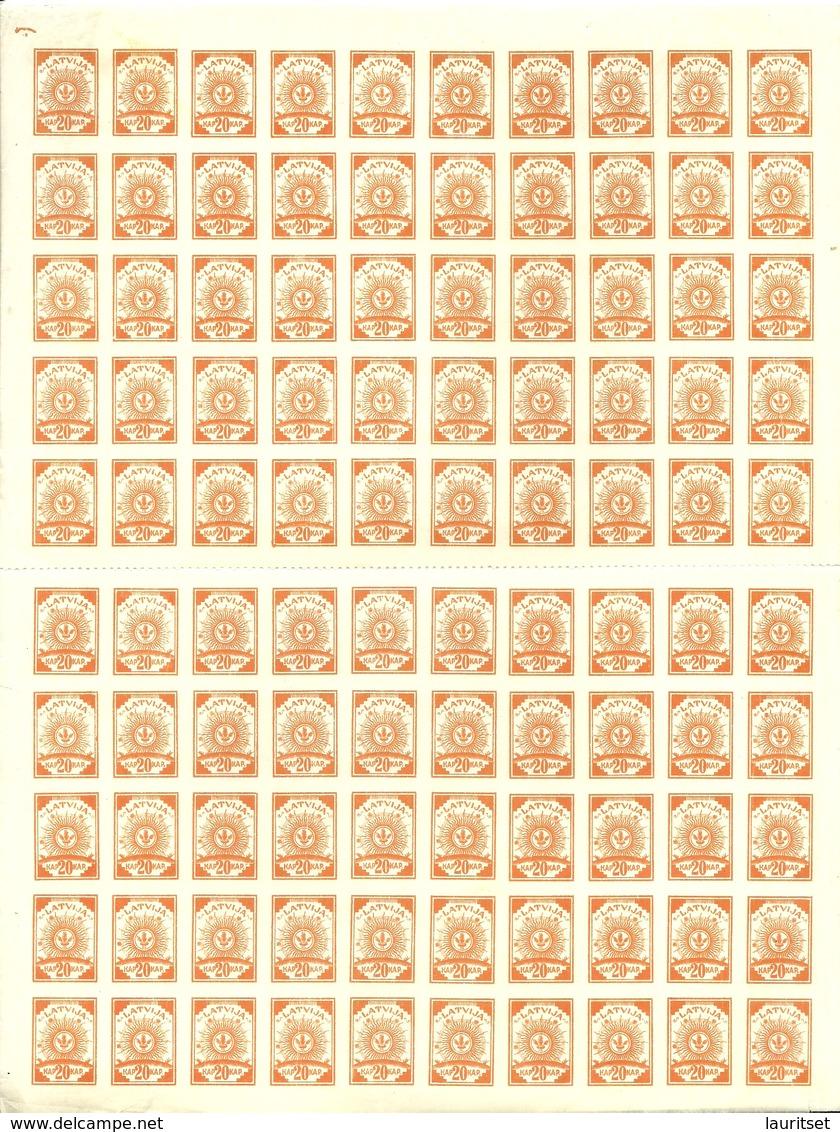 LETTLAND Latvia 1919 Michel 10 Complete Sheet Of 100 MNH Pelure Paper ! - Lettonie