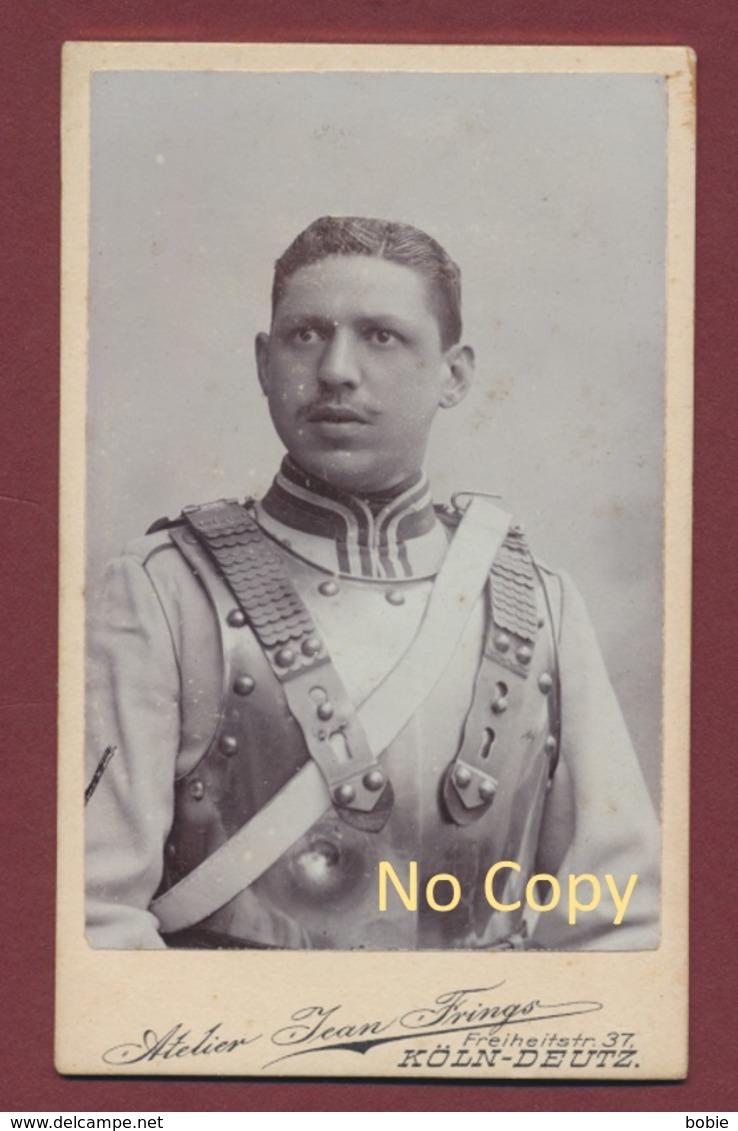 """Photo Portrait  Cuirassier Allemand En Armure Du Régiment Foto """" Kürassier Regt. Graf Gessler Nr.8  Deutz """" 10,5  X 6,5 - Régiments"""