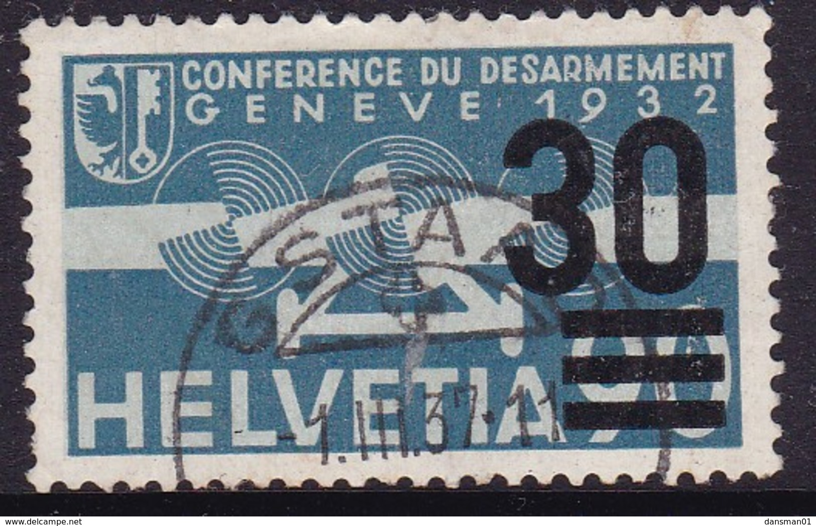 Switzerland 1936 Airmail Sc C23 Used - Oblitérés