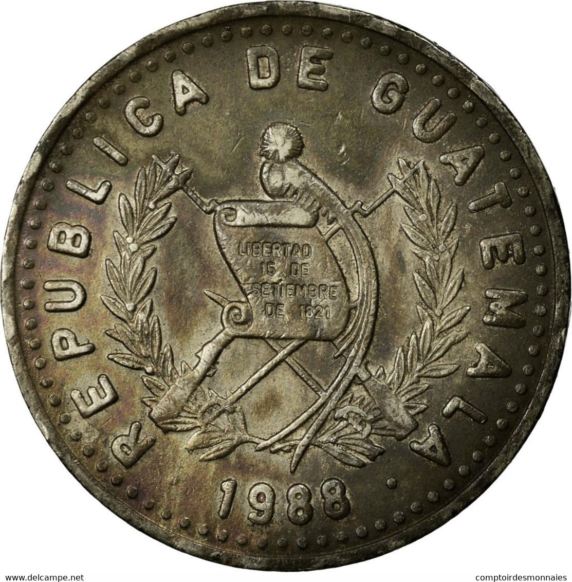 Monnaie, Guatemala, 25 Centavos, 1988, TTB, Copper-nickel, KM:278.5 - Guatemala