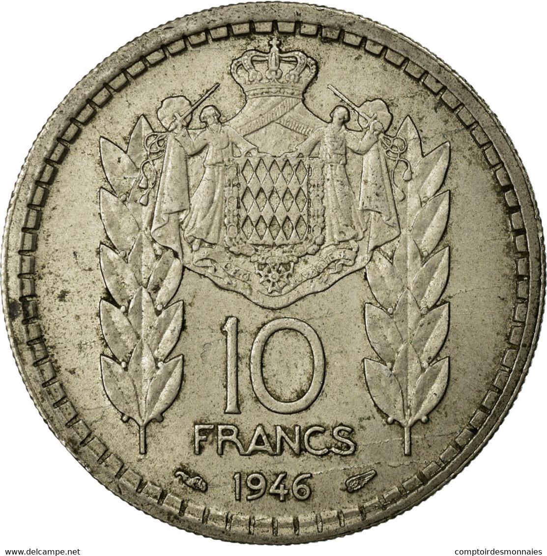 Monnaie, Monaco, Louis II, 10 Francs, 1946, Poissy, TB+, Copper-nickel - Monaco