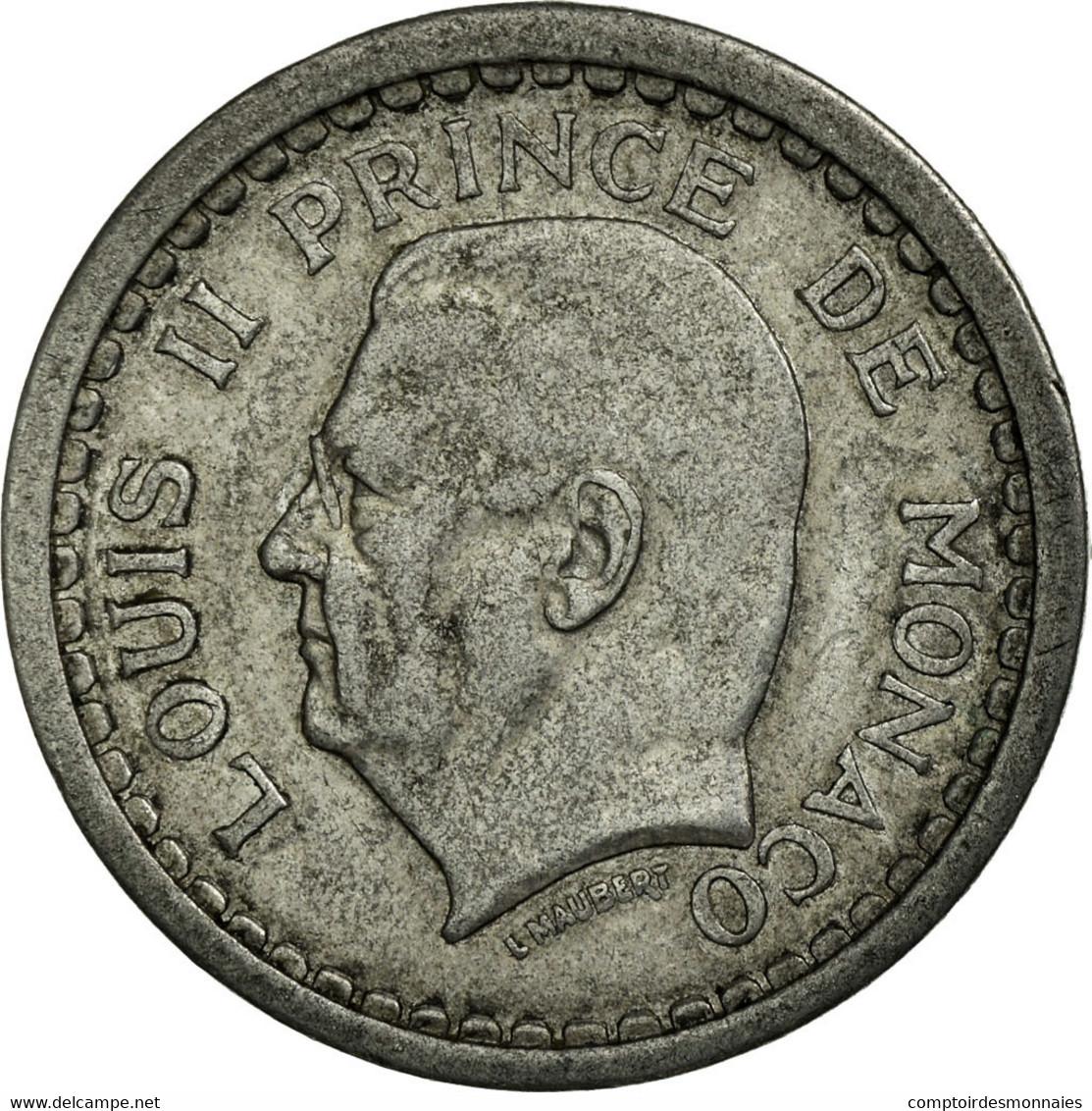 Monnaie, Monaco, Louis II, Franc, 1943, Poissy, TTB, Aluminium, KM:120 - Monaco