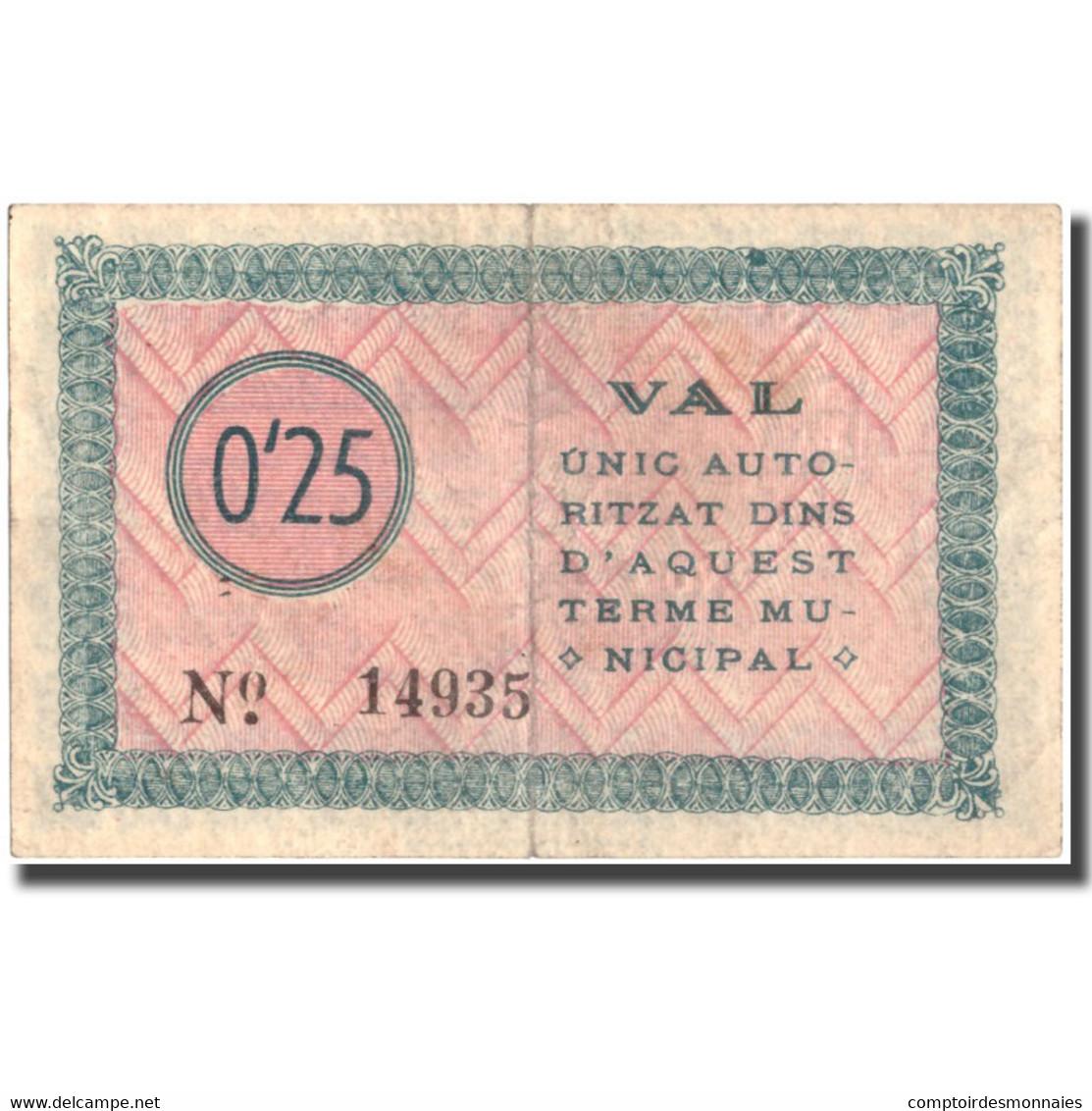 Billet, Espagne, 25 Centimos, GIRONELLA, 1937, 1937, TTB - Espagne