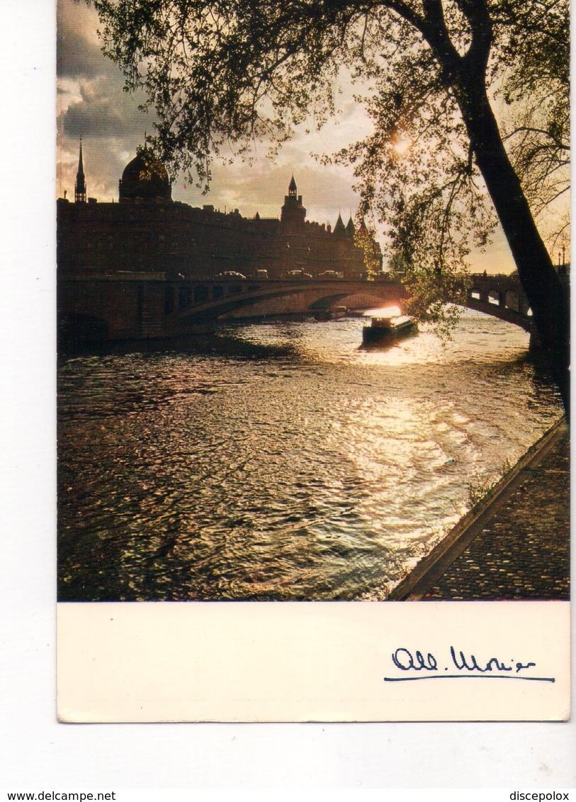 U4350 Postcard 1980 PARIS, ROMANTISME DE LA SEINE + NAVE NAVI NAVY SHIP BATEAU _ @ Cap Theojac - Barche
