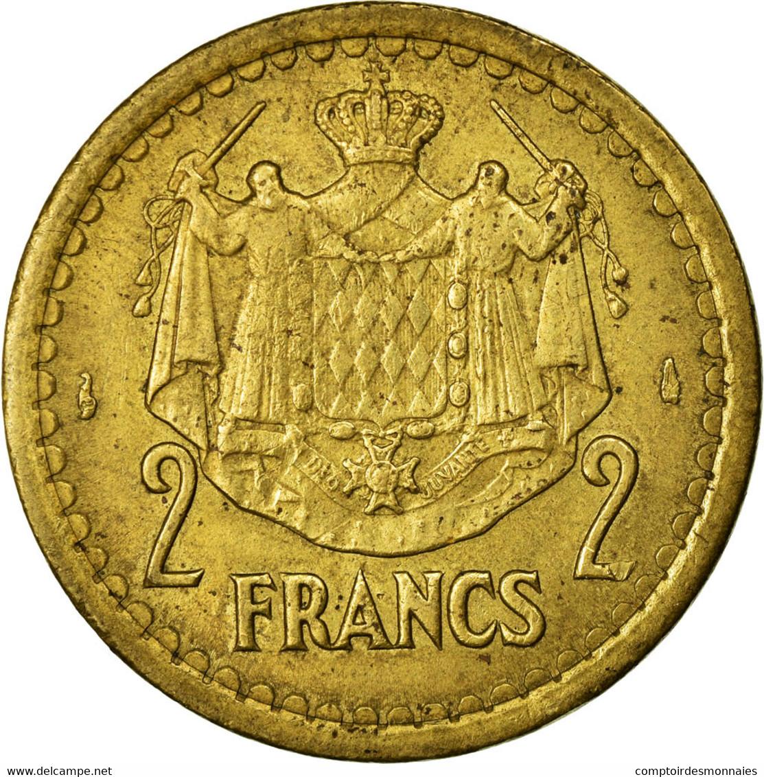 Monnaie, Monaco, 2 Francs, Undated (1943), Poissy, TTB, Cupro-Aluminium - Monaco
