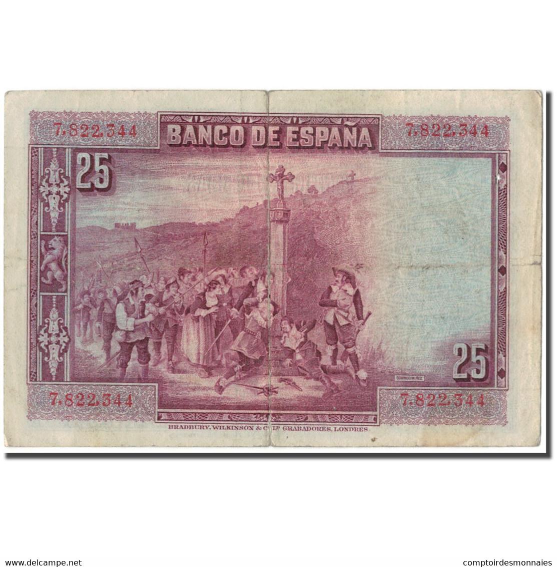 Billet, Espagne, 25 Pesetas, 1928, 1928-08-15, KM:74a, TB - [ 1] …-1931 : Eerste Biljeten (Banco De España)
