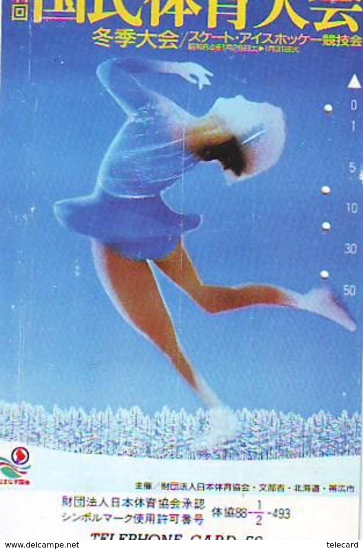 Télécarte JAPON * FIGURE SKATING (62) KUNSTSCHAATSEN * Patinage Artistique * ICE DANCING SPORT Phonecard Japan SCHAATSEN - Sport
