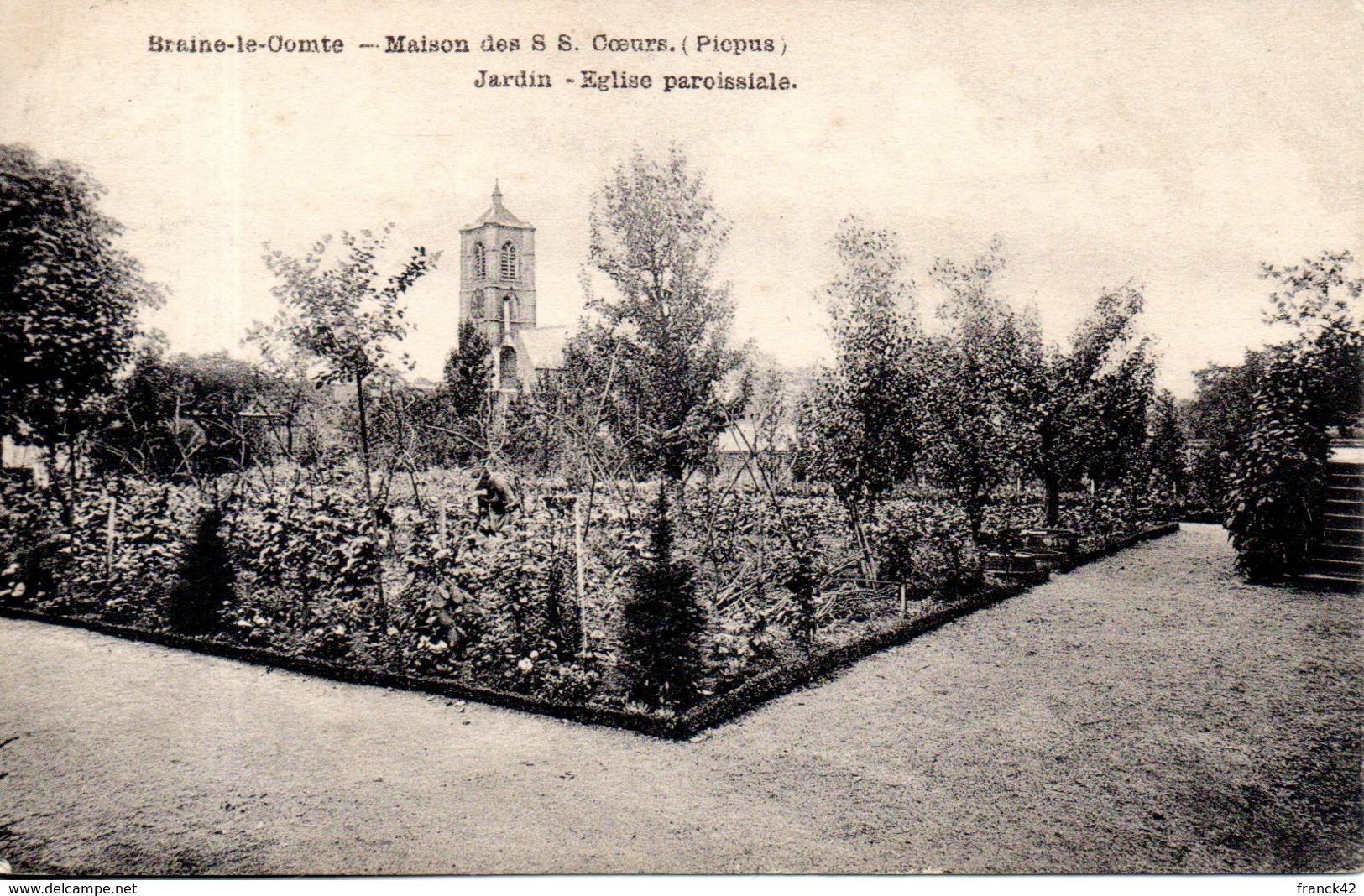 Belgique. Braine Le Comte. Maison Des S.S Coeur (picpus). Jardin; église Paroissiale - Braine-le-Comte
