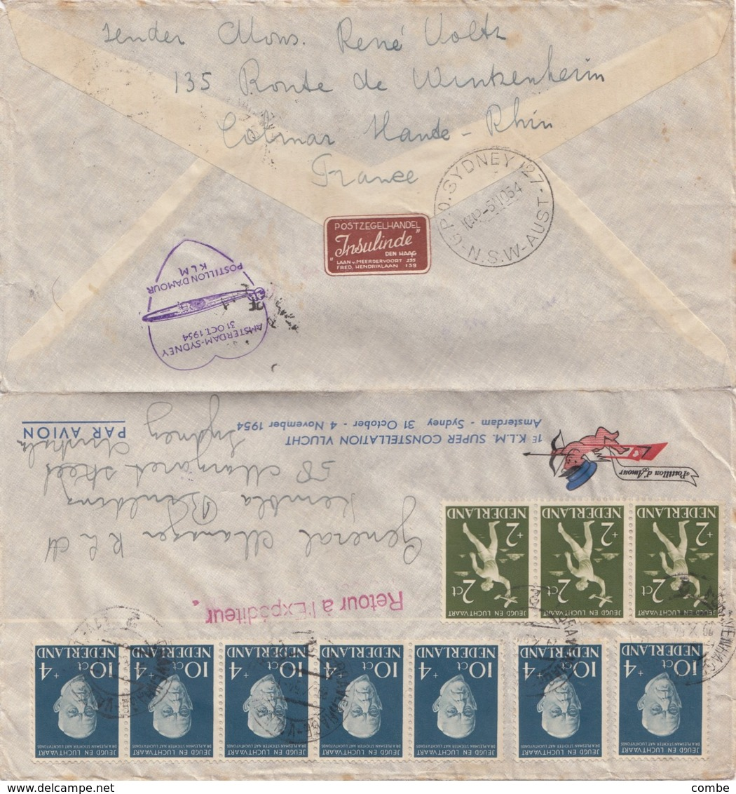 COVER NEDERLAND. 29 10 54.AMSTERDAM TO SYDNEY AUSTRALIA. POSTILLON D'AMOUR KLM - Briefmarken