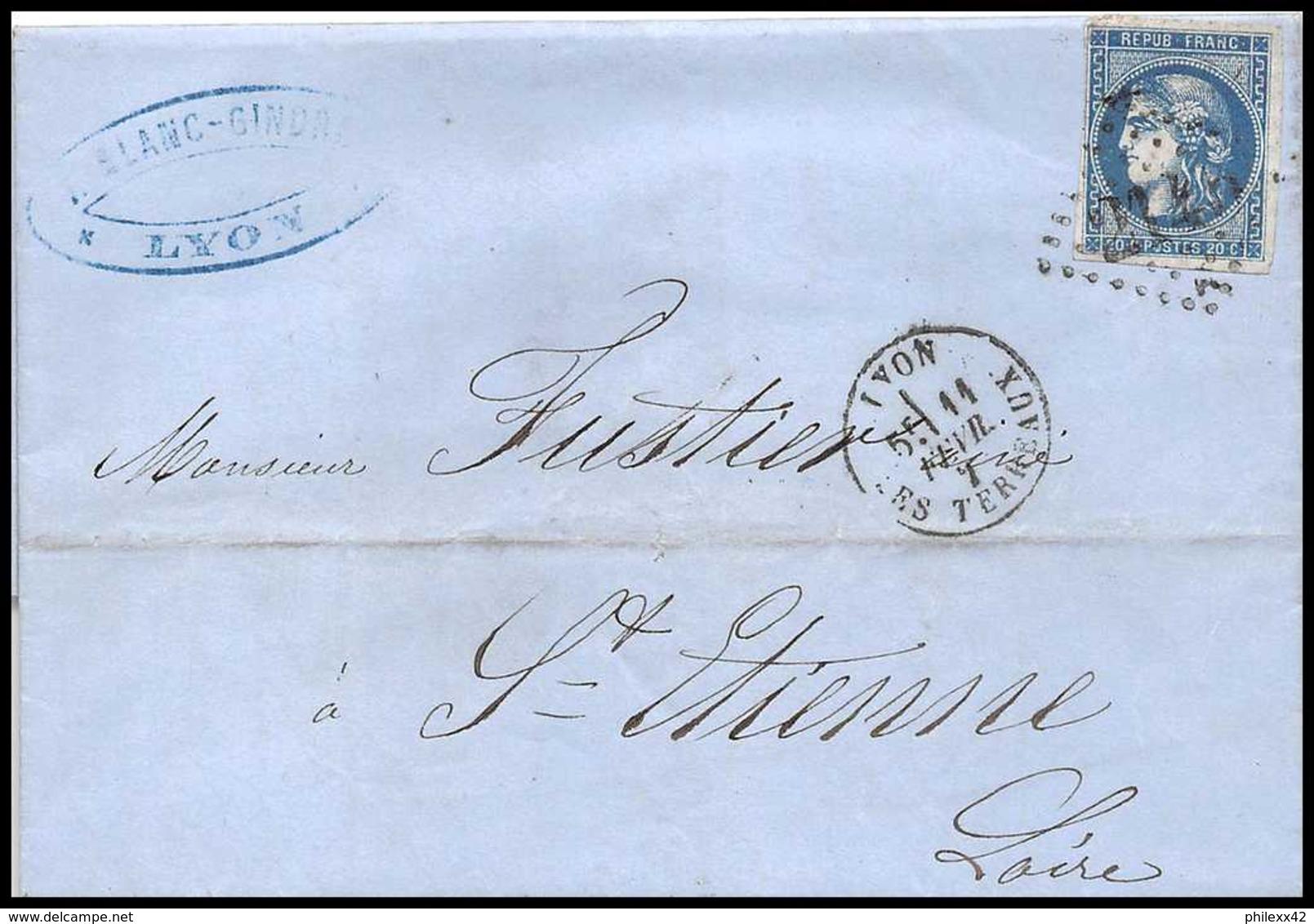 1115 LAC Lettre (cover) N°46B Bordeaux GC 2145A Lyon Rhone 11/12/1871 Pour Saint-Etienne Loire France TB - Marcophilie (Lettres)