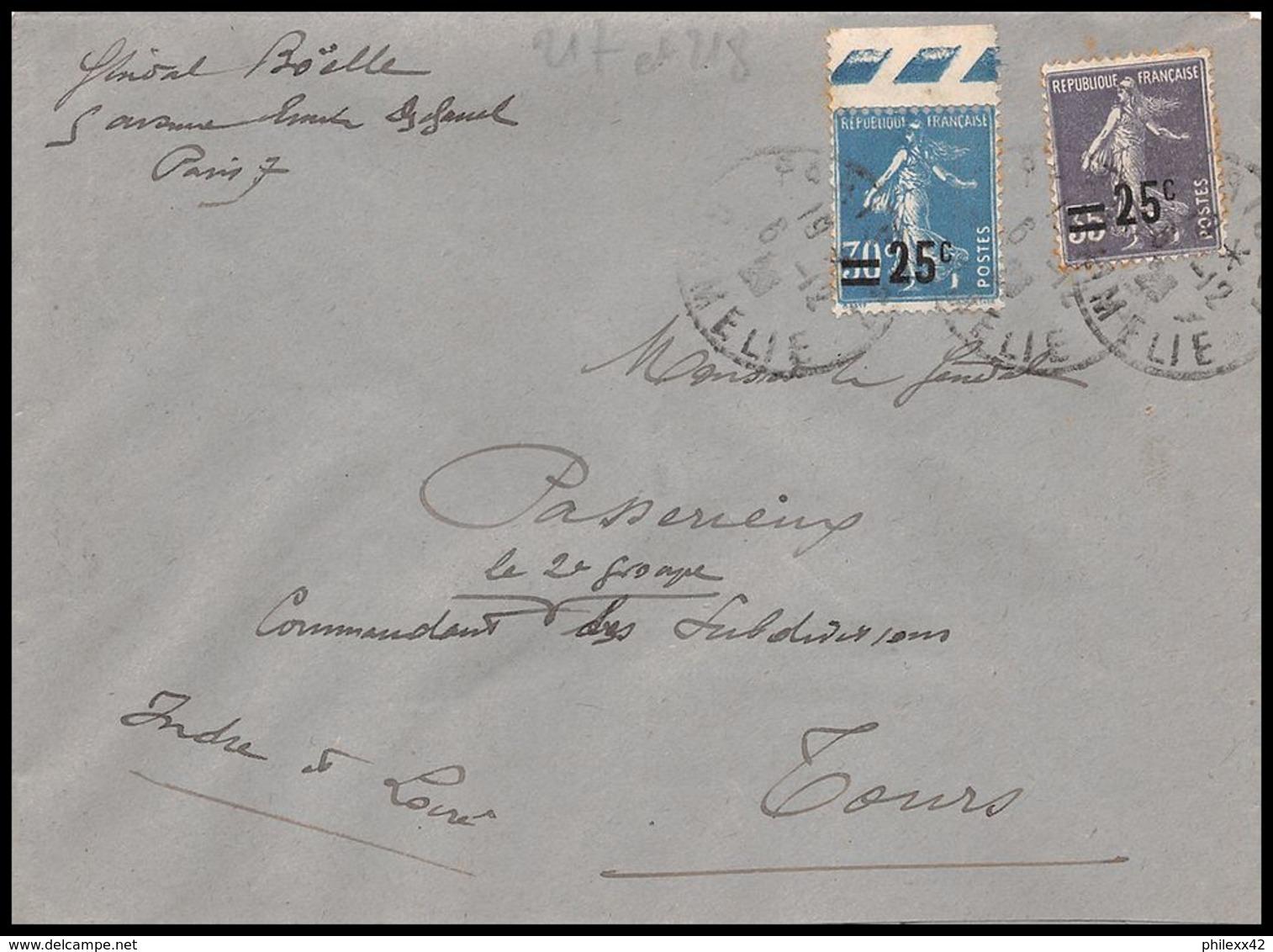 1639 Lettre (cover) N°217 / 218 Semeuse Pour Tours Indre Et Loire 1928 55c - Postmark Collection (Covers)