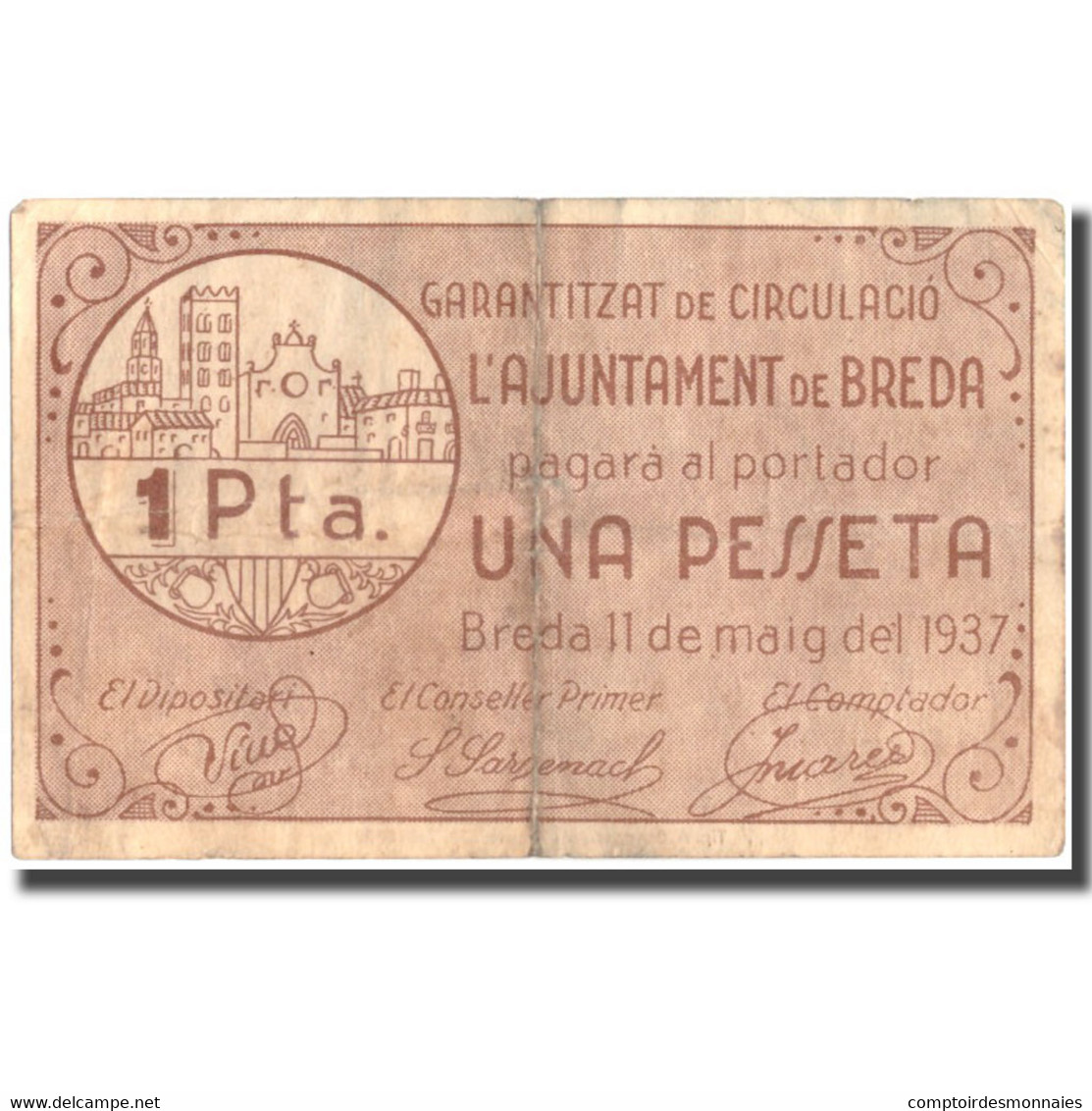 Billet, Espagne, 1 Peseta, N.D, BREDA, 1934-05-11, TTB - Espagne