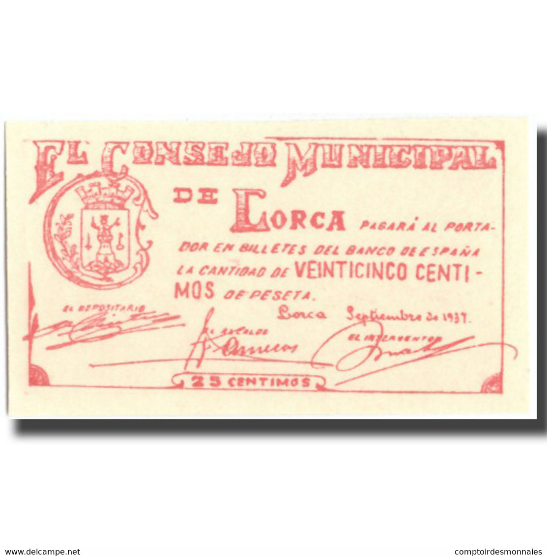 Billet, Espagne, 25 Centimos, LORCA, Personnage, 1937, 1937, NEUF - Espagne