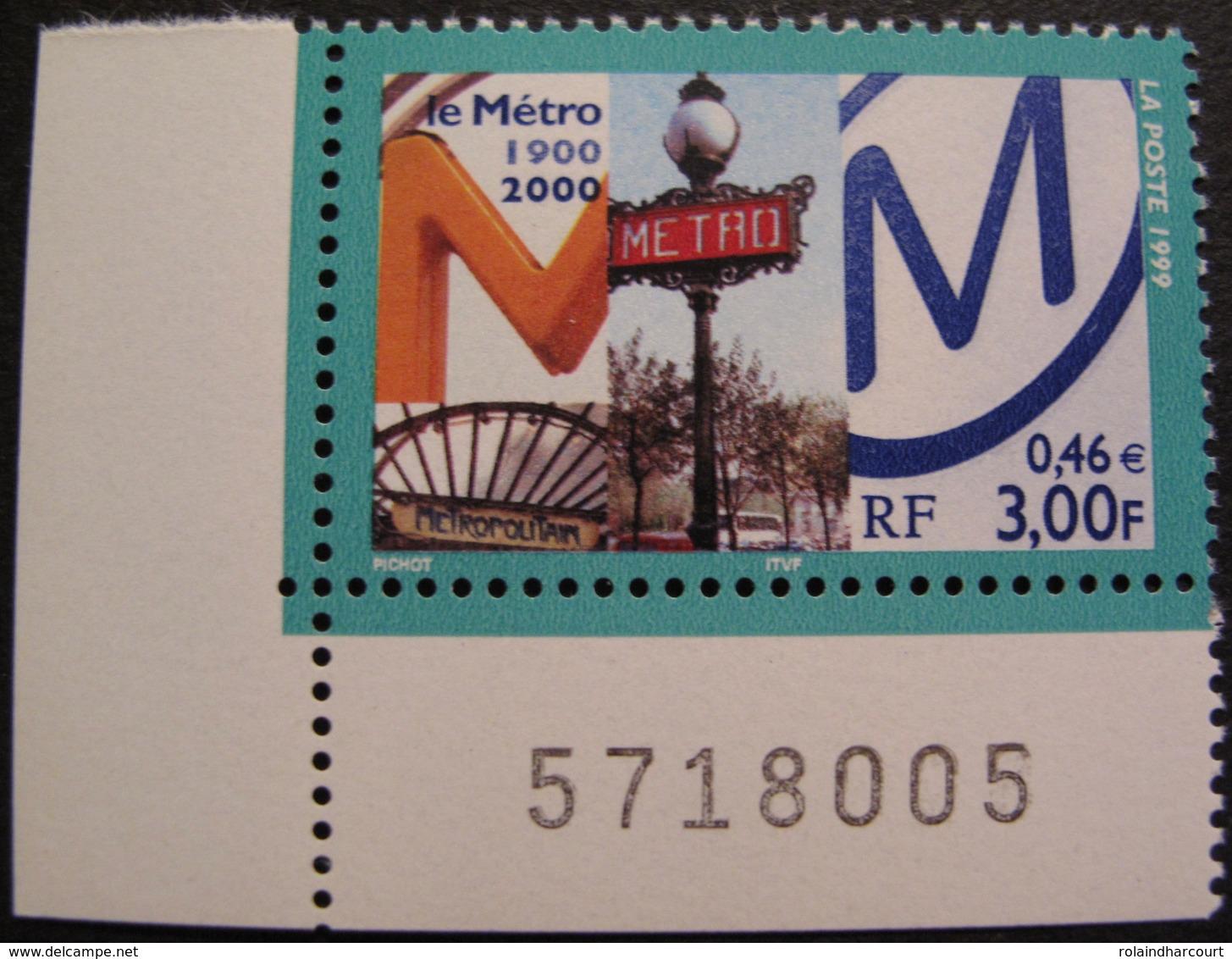 Lot 1894 - 1999 - LE METRO 1900-2000 - N°3292 NEUF** COIN DE FEUILLE - France