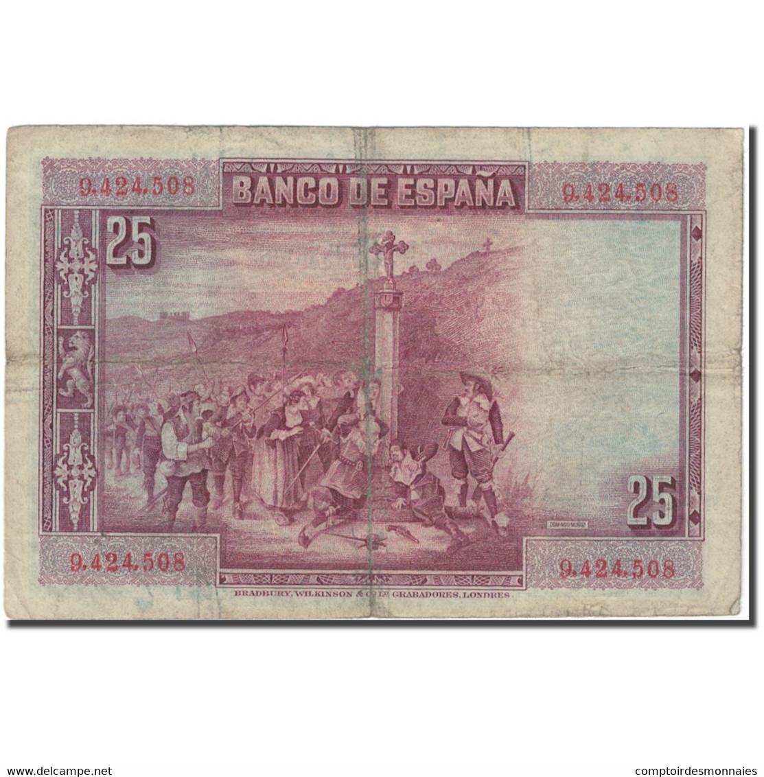 Billet, Espagne, 25 Pesetas, 1928, 1928-08-15, KM:74a, B+ - [ 1] …-1931 : Eerste Biljeten (Banco De España)