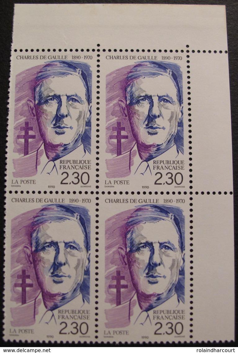 Lot 1911 - 1990 - CHARLES DE GAULLE - BLOC N°2634 TIMBRES NEUFS** COIN DE FEUILLE - France