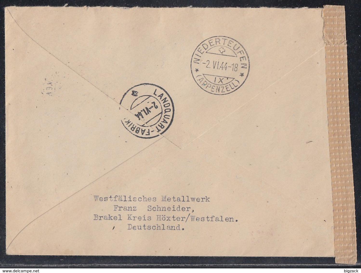 DR R-Brief Mif Minr.781,866,876 SR,885,886 Brakel 24.5.44 Gel. In Schweiz Zensur - Deutschland