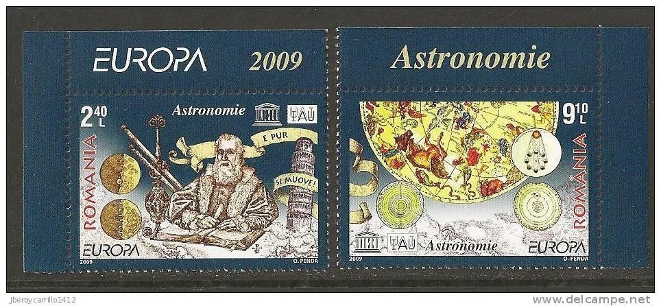 """RUMANIA / ROMANIA / RUMÄNIEN  / ROUMANIEN - EUROPA 2009 - TEMA """"ASTRONOMIA"""" - SERIE De 2 V. . DENTADA  (PERFORATED) - Europa-CEPT"""