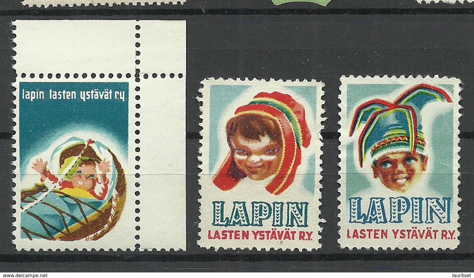 FINLAND FINNLAND 3 Vignetten Sami Lapland For Lappish Children Charity Poster Stamps - Cinderellas