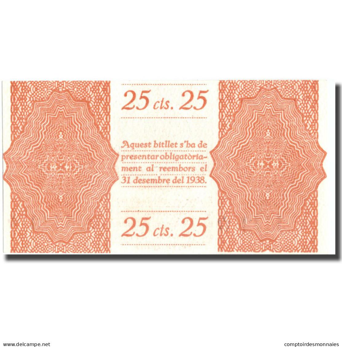 Billet, Espagne, 25 Centimos, Blason, ESPARREGUERA, 1937, NEUF - Espagne
