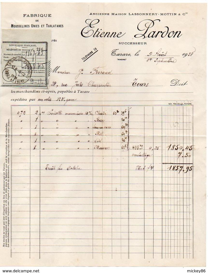 1938-Mousselines-Tarlatanes--TARARE-69 --Facture ETIENNE LARDON-Ancienne Maison Lassonnery-Mottin & Cie - Kleding & Textiel