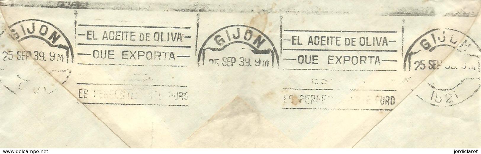 CARTA 1939  CENSURA MILITAR BARCELONA    A GIJON  MATASELLOS ROCILLO EL ACEITE - Marcas De Censura Nacional