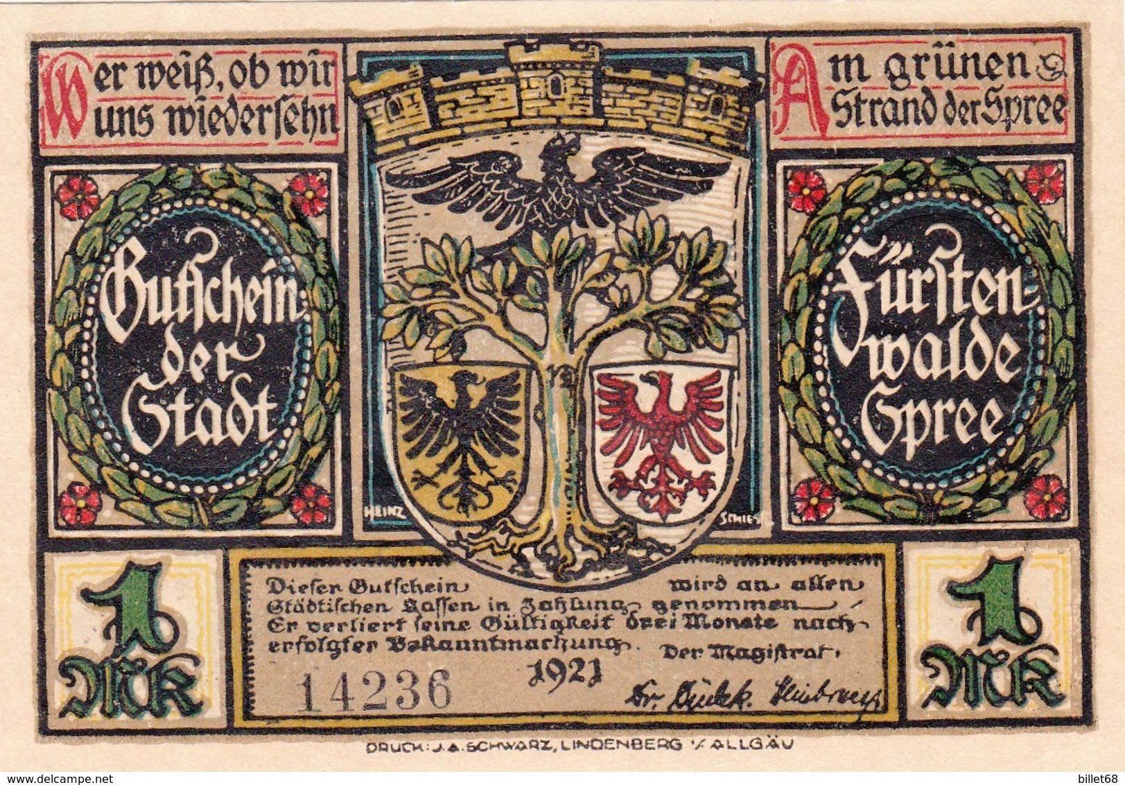 Billet Allemand - 1 Mark  - Fürstenwalde An Der Spree 1921 - [11] Local Banknote Issues