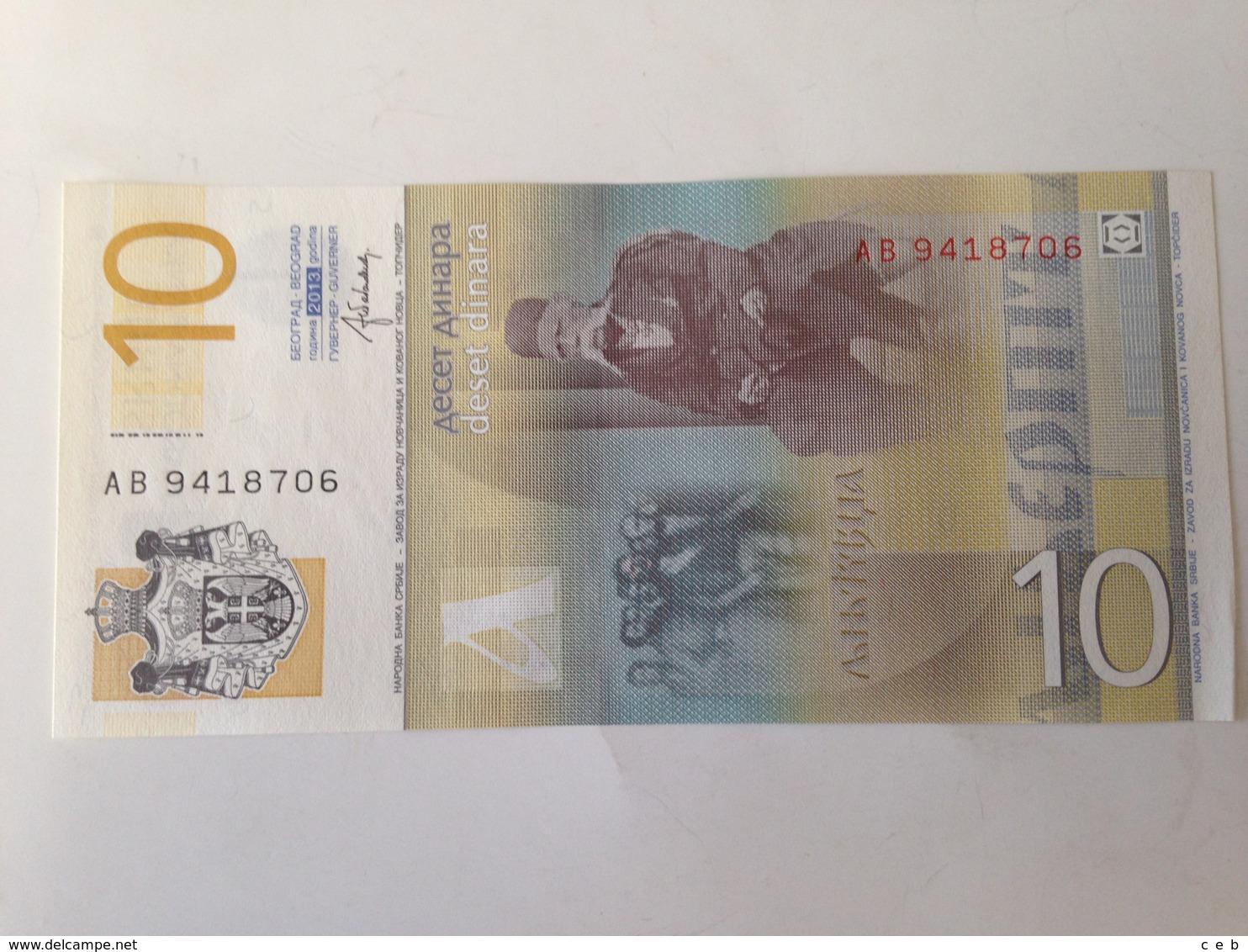 Billete Serbia. 10 Dinares. 2013. Sin Circular - Serbia