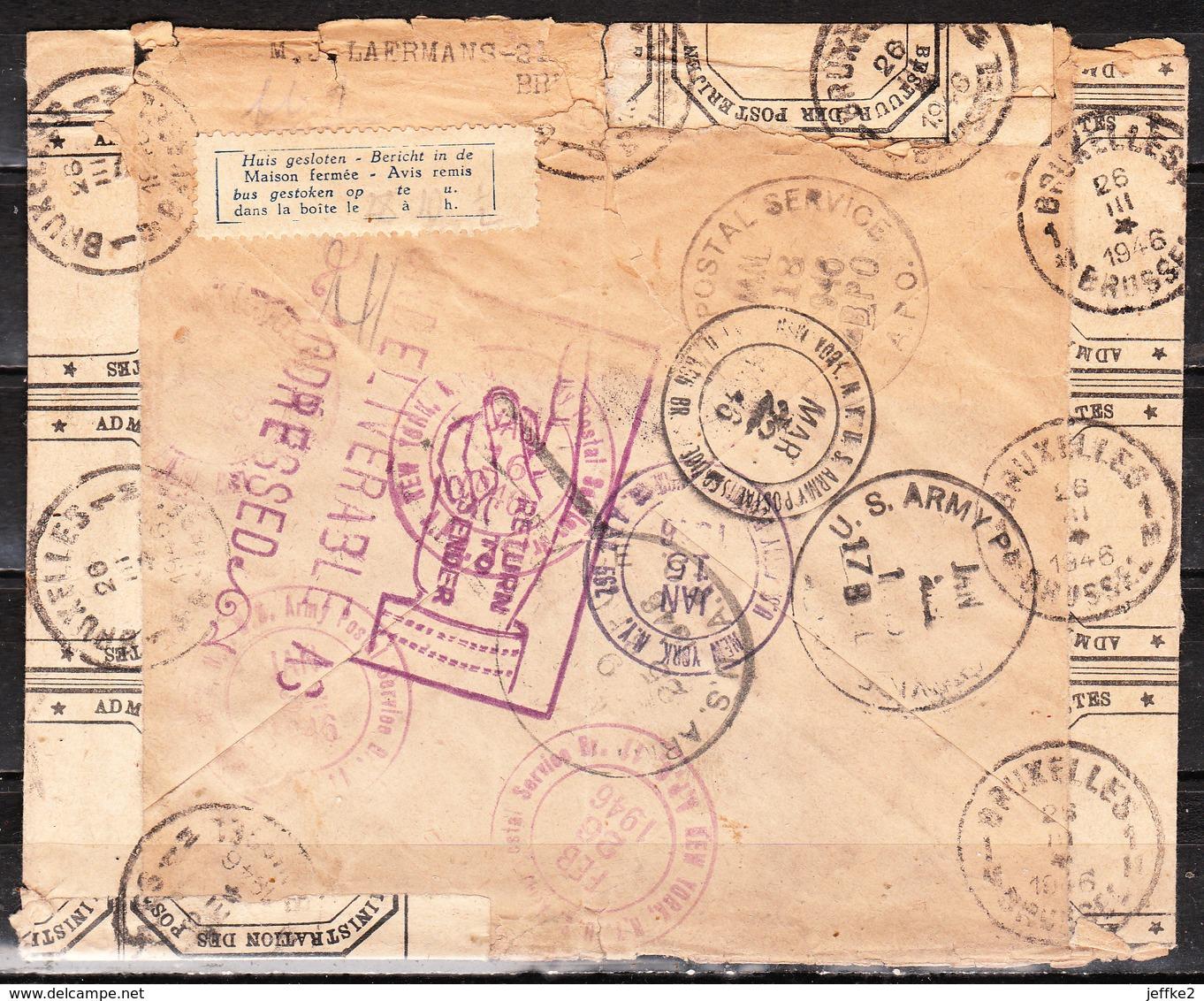 Enveloppe Recommandée D'IXELLES Pour Les ETATS-UNIS (US ARMY) - Non Délivrée - LOOK!!!! - Belgique