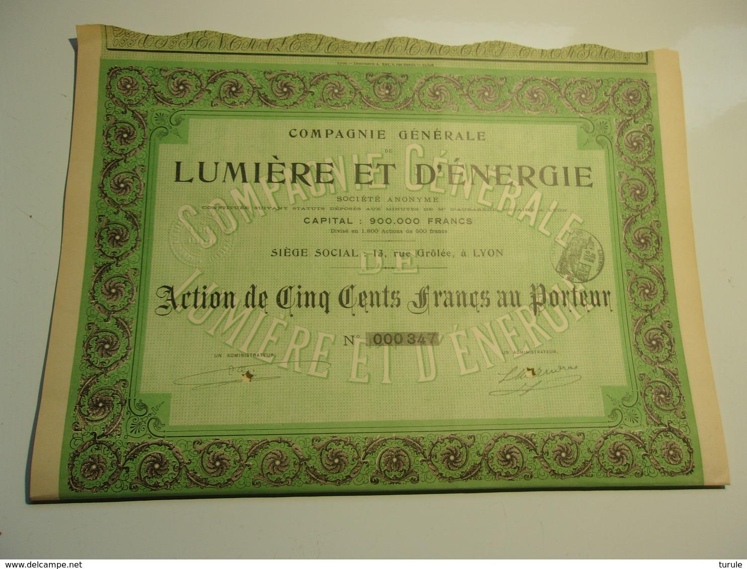 Compagnie Générale De Lumière Et D'énergie - Aandelen