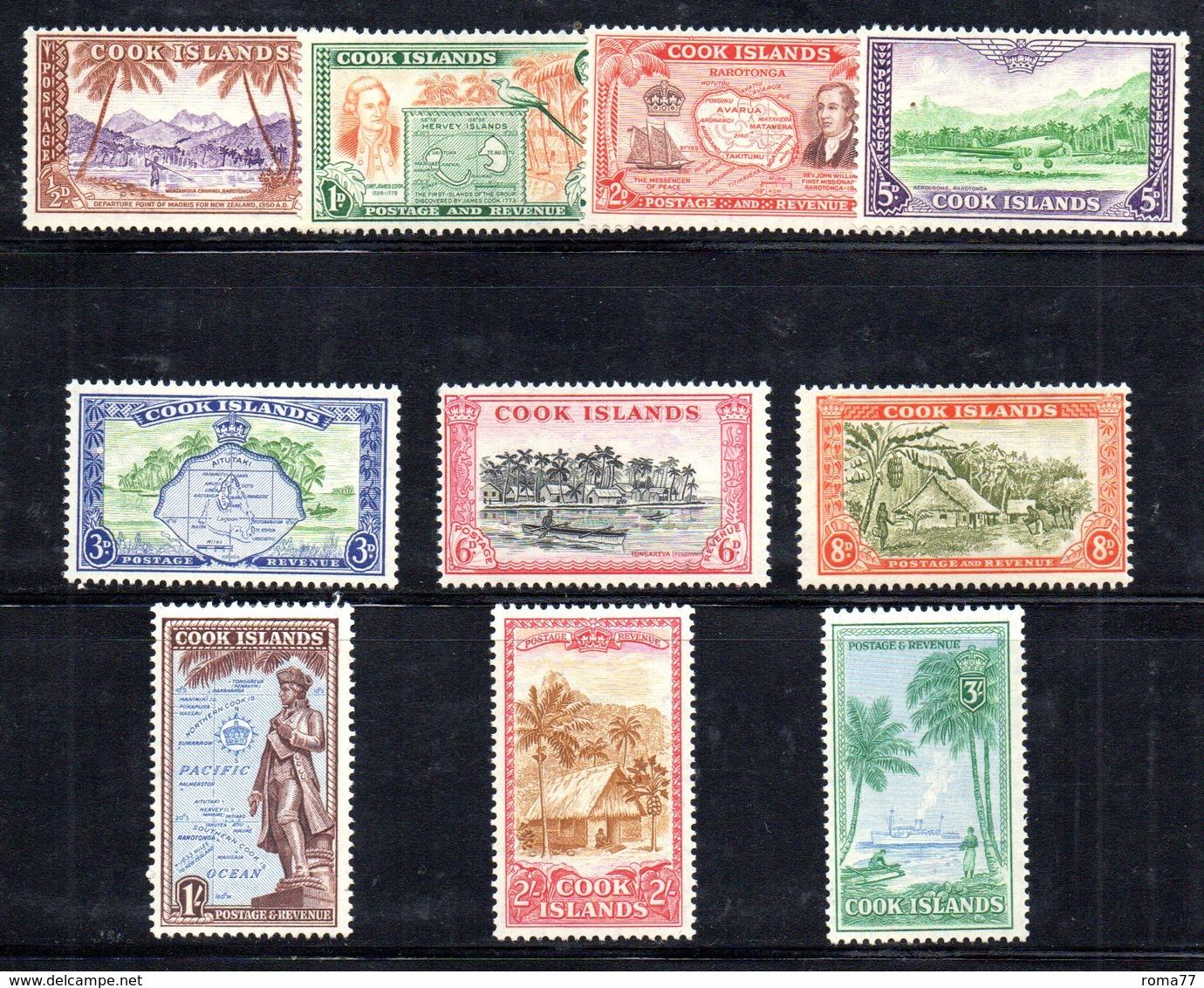 W2974 - COOK ISLANDS 1949 ,  Yvert 76/85  ***  MNH  ORDINARIA - Cook