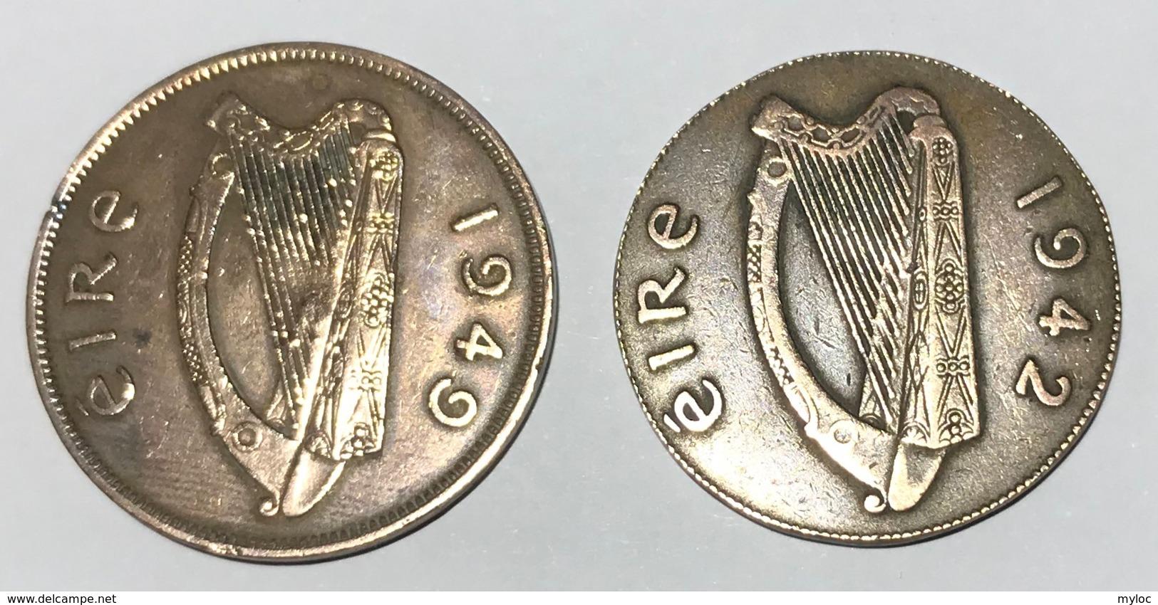 Lot De 2 Pièces. Irlande. Eire. 1 Penny. 1949 Et 1942 - Irlande