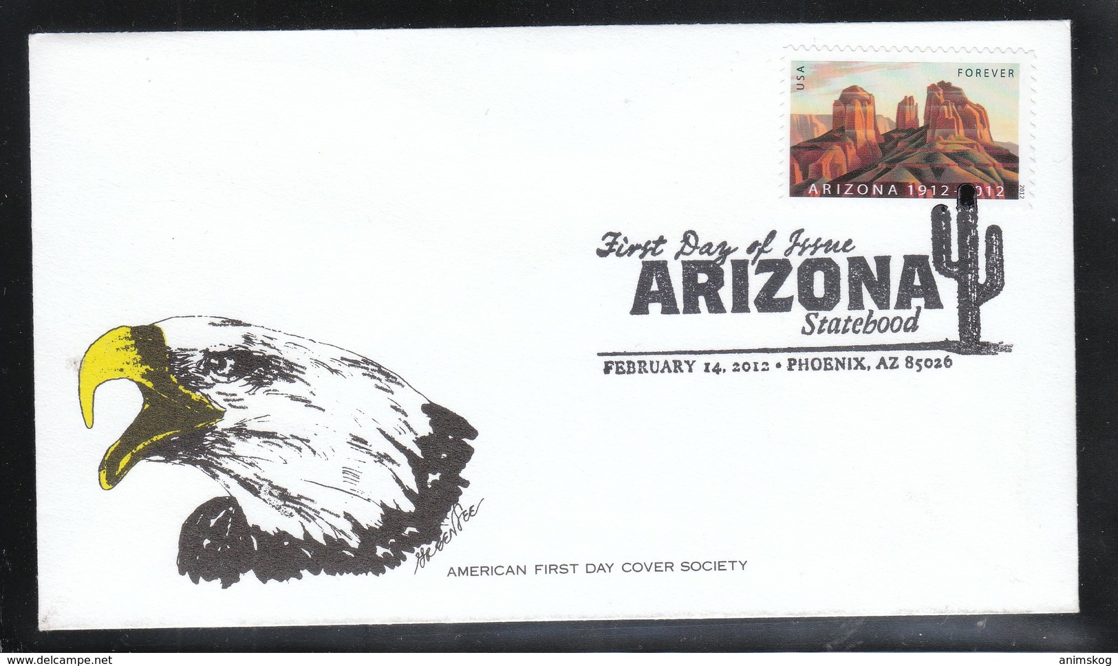 USA 2012, 1 FDC 100 Jahre Bundesstaat Arizona, Kaktus / USA 2012, 1 FDC, 100 Years State Of Arizona, Cactus - Sukkulenten