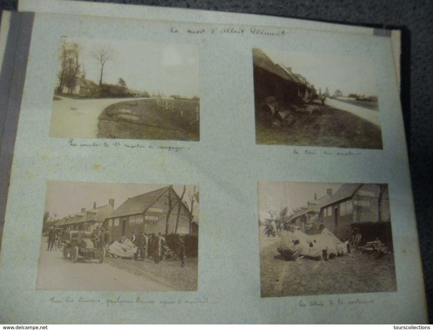 4 Photos De La Mort D'Albert Clément Le 17 Mai 1907 à Saint Martin Près De Dieppe (76) Aéronaute Et Pilote Automobile - Automobiles
