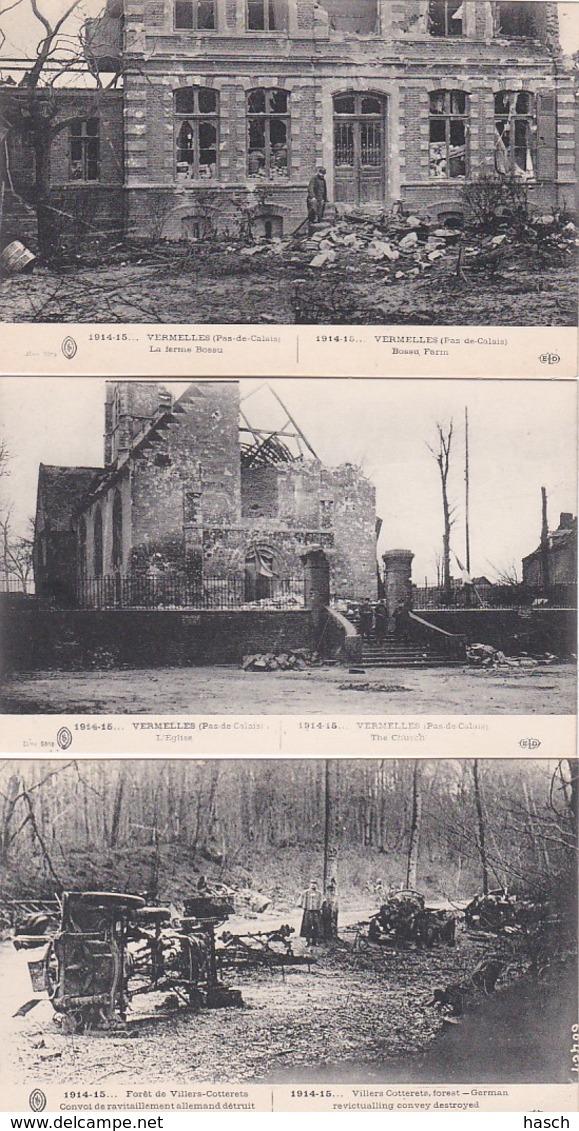 24021511914-15, Vermelles L'Eglise-La Ferme Bossu-Forêt De Villers Cotterets (3 Cartes) - Guerre 1914-18