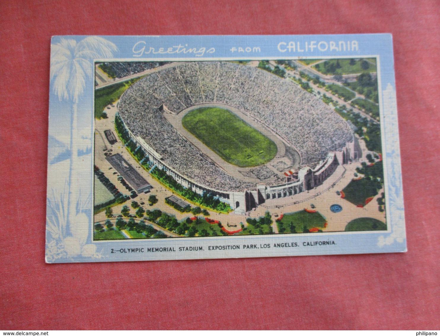 Olympic Memorial Stadium  Greetings Los Angles Ca.   Ref 3108 - Autres