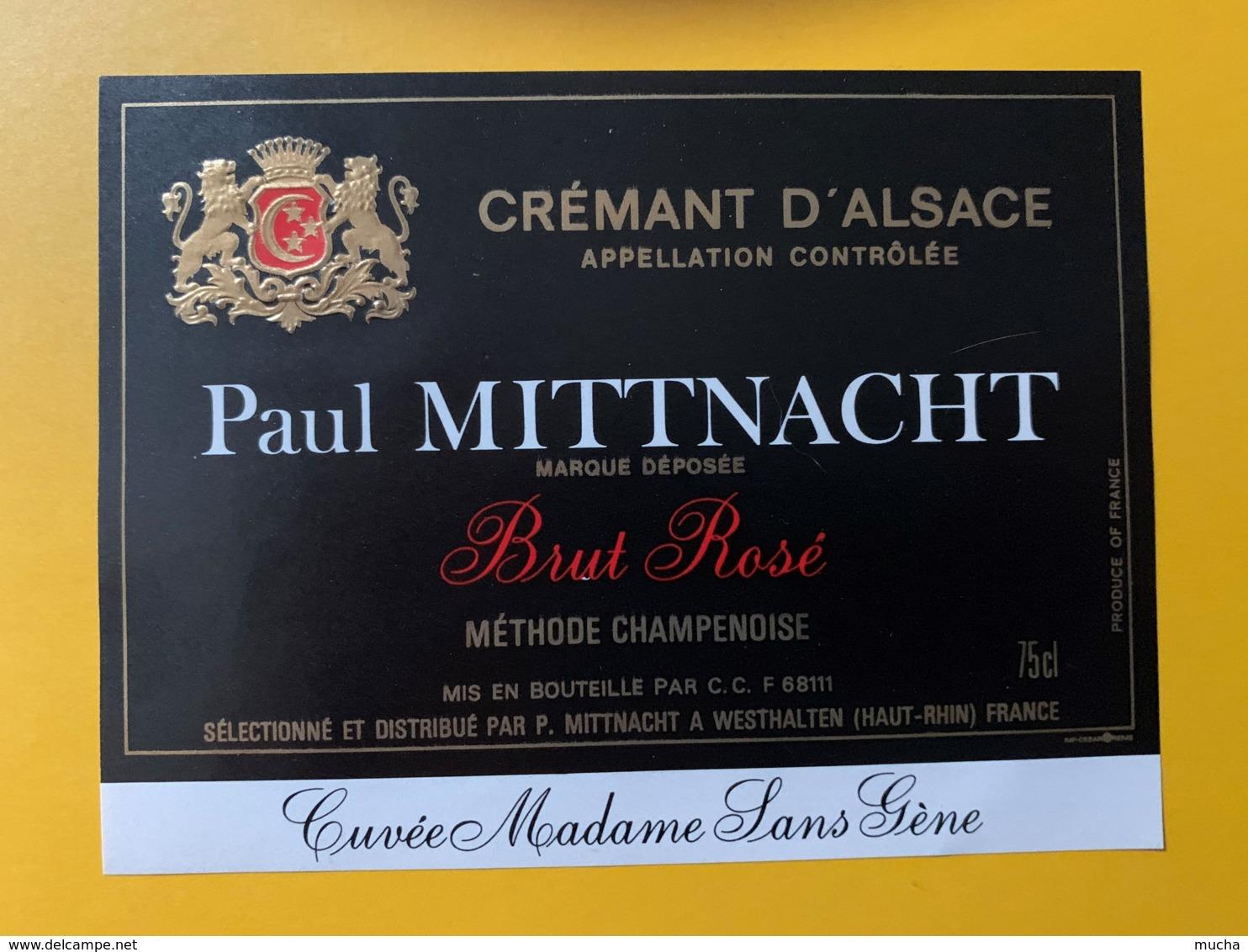 9257 - Crémant D'Alsace Paul Mittnacht Brut Rosé Cuvée Madame Sans Gêne - Etiquettes