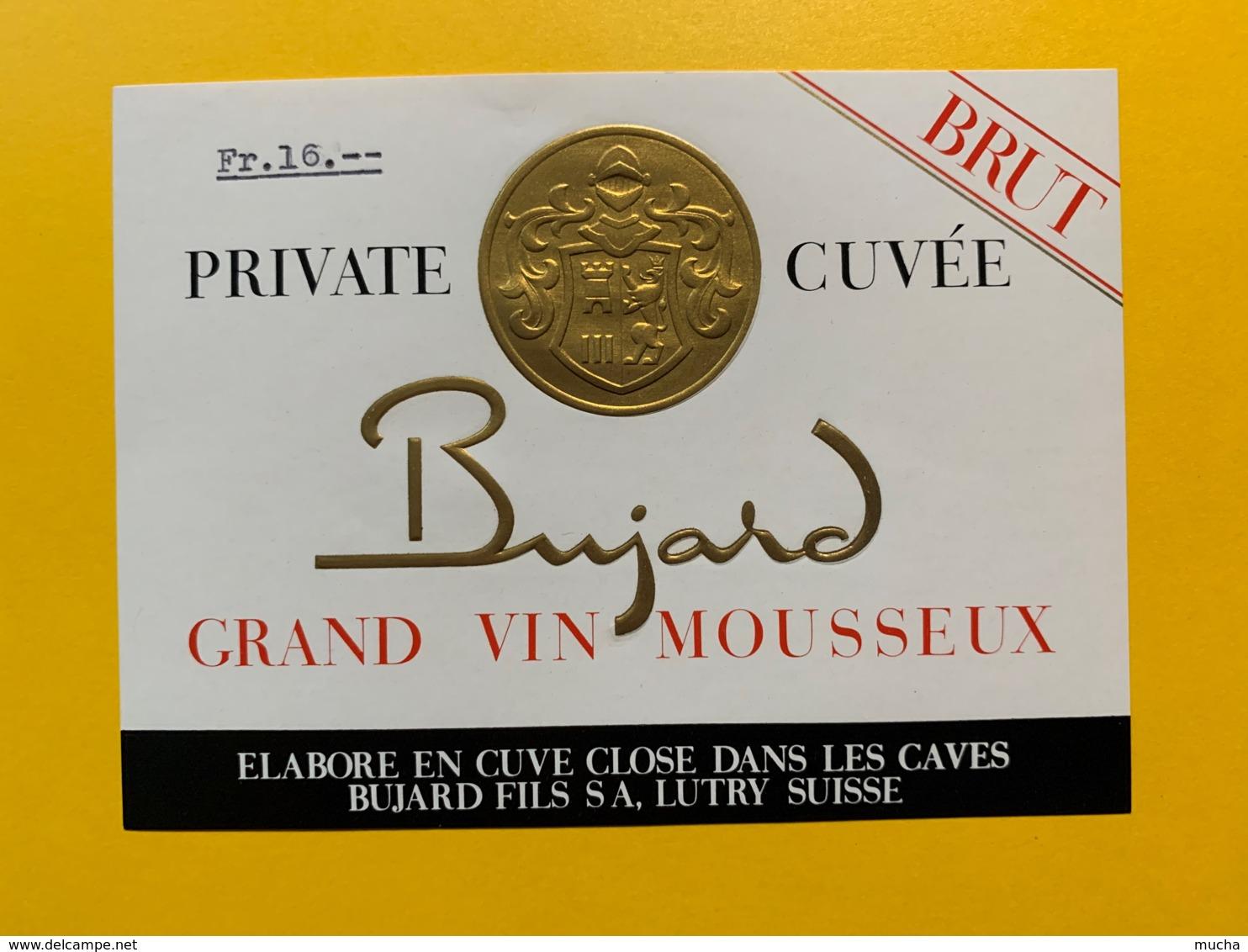 9296 - Grand Vin Mousseux & Grand Perlé Bujard Suisse 3 étiquettes - Etiquettes