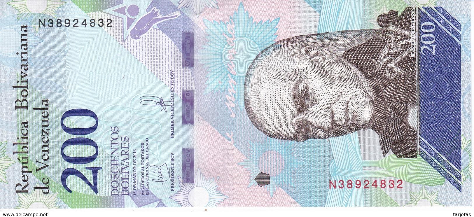 BILLETE DE VENEZUELA DE 200 BOLIVARES DEL 13 DE MARZO DEL AÑO 2018 SIN CIRCULAR-UNCIRCULATED (BANKNOTE) LORO-PARROT - Venezuela