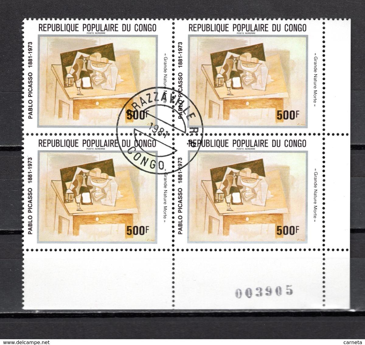 CONGO PA N° 292 à 296  BLOCS DE QUATRE  OBLITERES  COTE  22.00€   TABLEAUX REMBRENDT  PEINTRE - Oblitérés