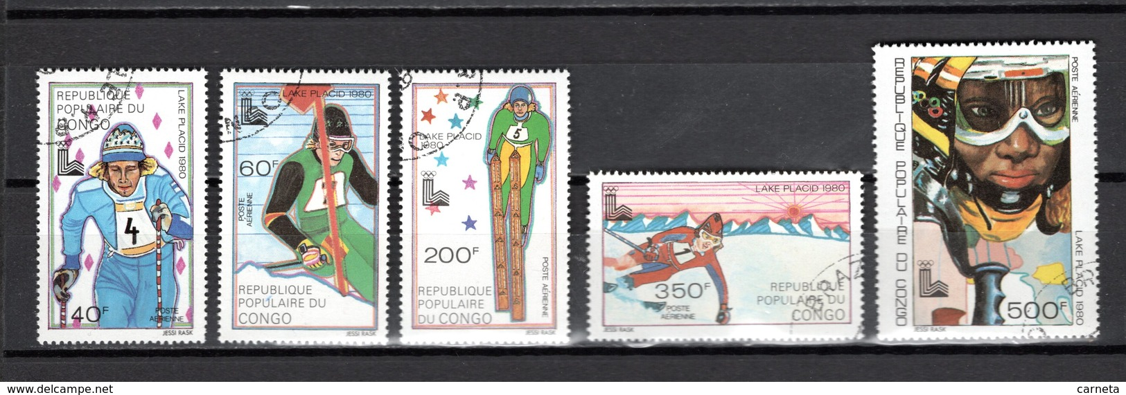 CONGO  PA  N° 259 à 263  OBLITERES  COTE  4.00€   JEUX OLYMPIQUES LAKE PLACID - Congo - Brazzaville