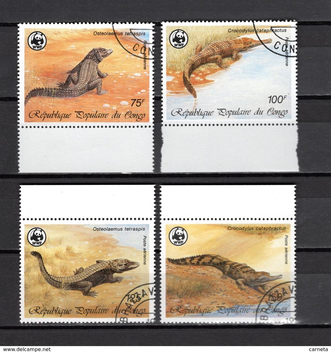 CONGO  PA  N° 361 à 364  OBLITERES  COTE  3.50€  CROCODILE  ANIMAUX  WWF - Congo - Brazzaville