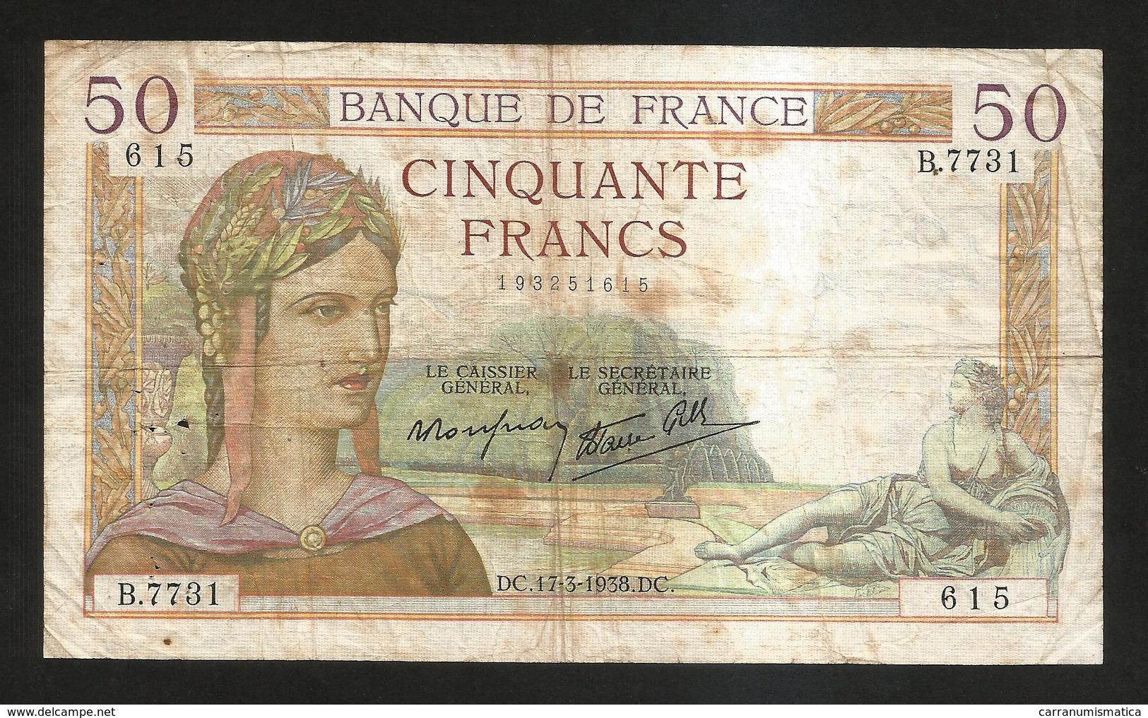 """FRANCE - BANQUE De FRANCE - 50 FRANCS """"Cérès"""" (DC. 17 - 3 - 1938) - 1871-1952 Antichi Franchi Circolanti Nel XX Secolo"""