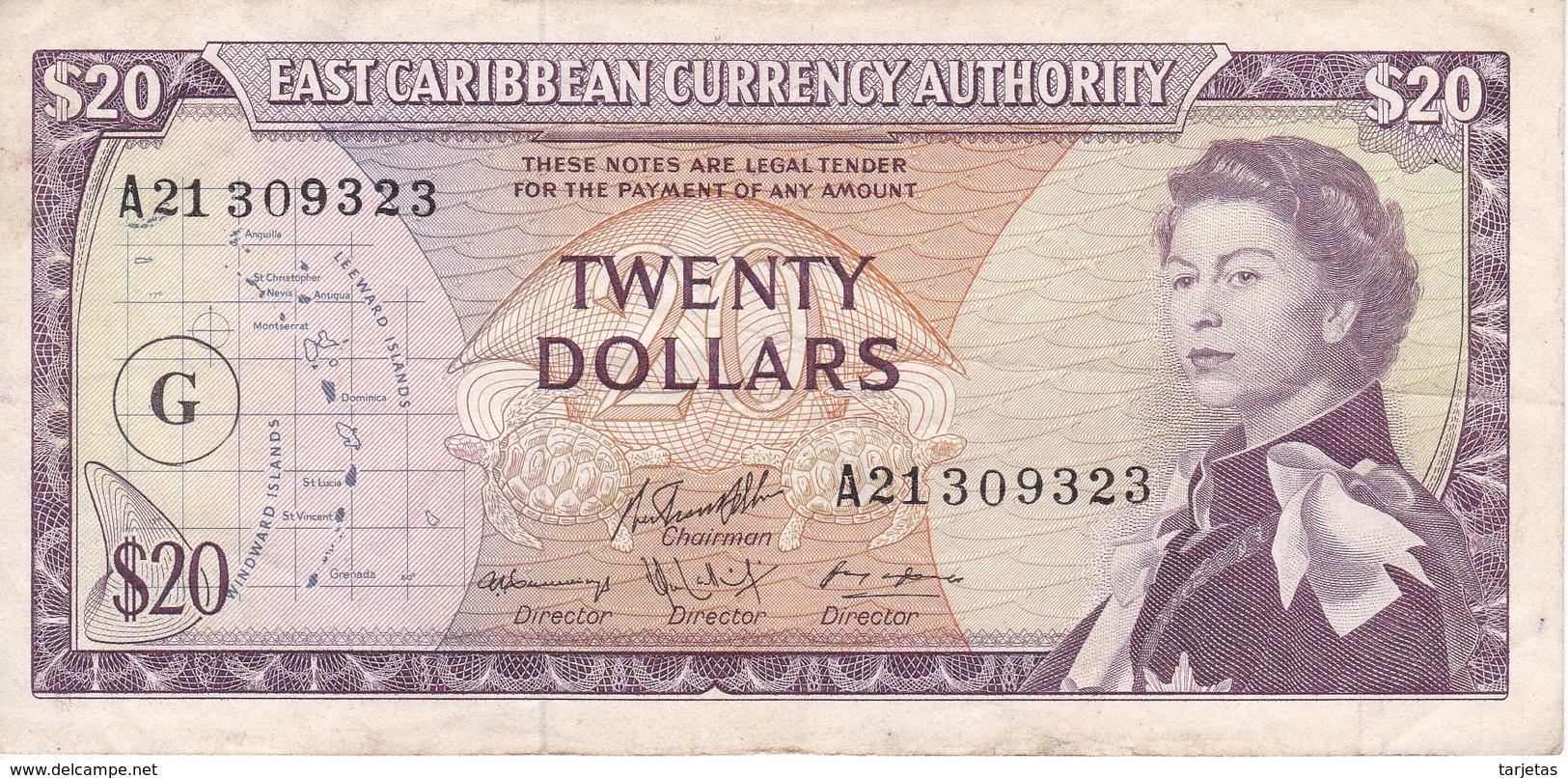 BILLETE DE EAST CARIBBEAN DE 20 DOLLARS DEL AÑO 1965  (BANKNOTE) GRENADA - Caribes Orientales