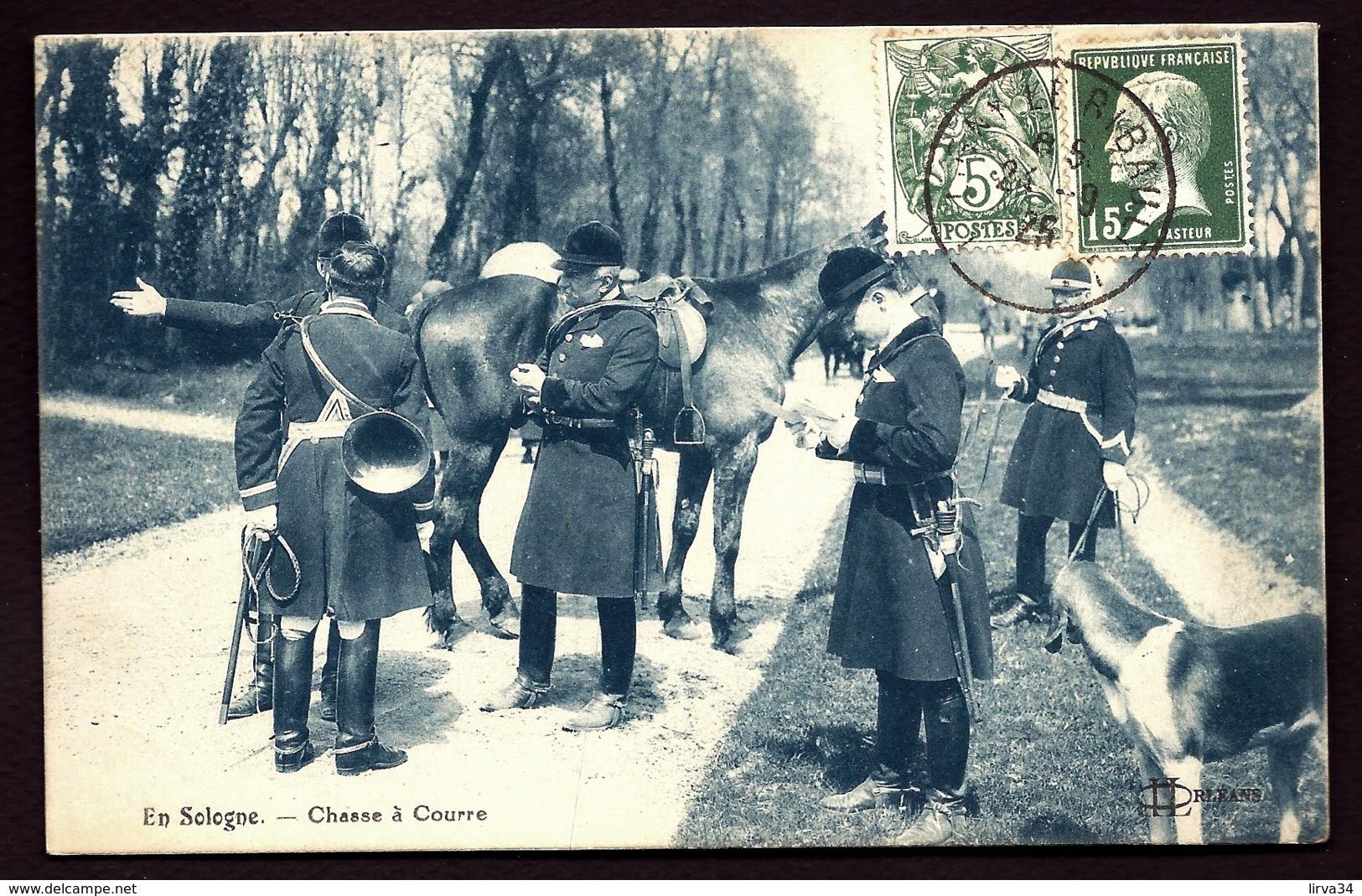 CPA ANCIENNE FRANCE- CHASSE A COURRE EN SOLOGNE- LES ÉGARÉS CHERCHANT LA CHASSE- TRES GROS PLAN- - Jagd