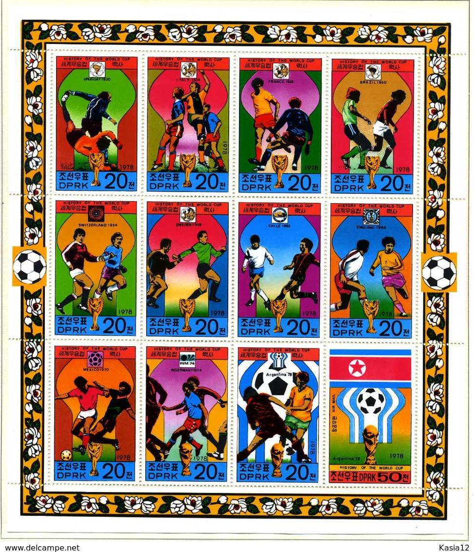 E08466)Fussball-WM 1978 Nordkorea 1733/45 ZDR-Bogen** - Fußball-Weltmeisterschaft
