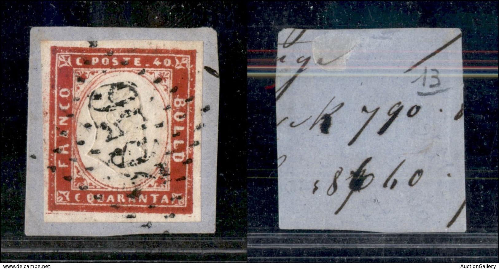 ANTICHI STATI - SARDEGNA - 2656 A Punti Di Nizza (P.ti 13) Su 40 Cent (60D) Su Frammento (2.000+) - Stamps