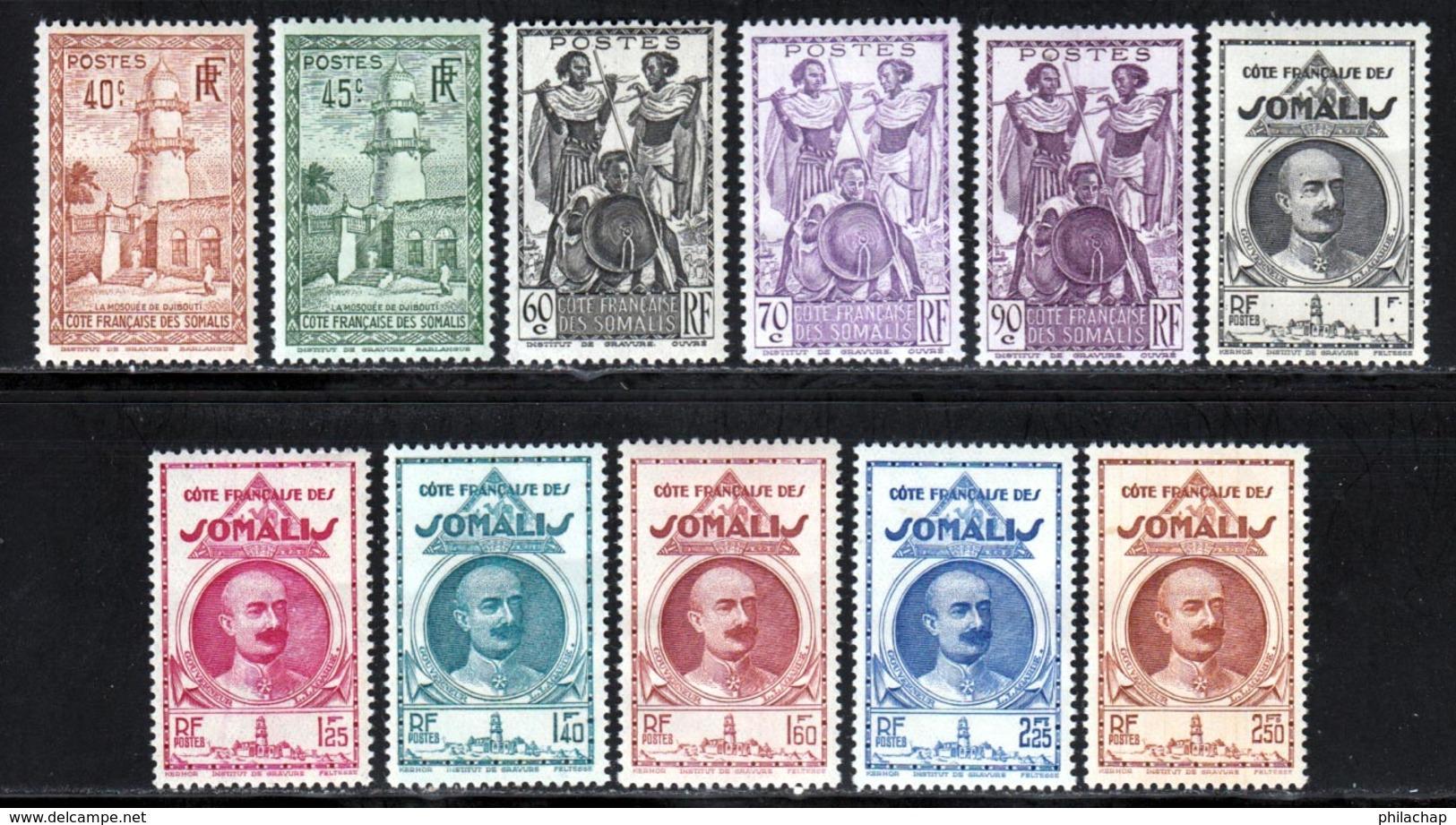 Cote Des Somalis 1939 Yvert 177 / 187 * TB Charniere(s) - Französich-Somaliküste (1894-1967)