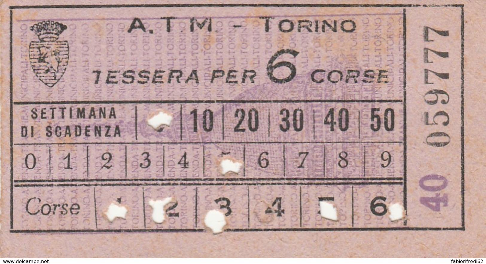 TESSERA PER 6 CORSE TORINO BIGLIETTO AUTOBUS (FX378 - Bus