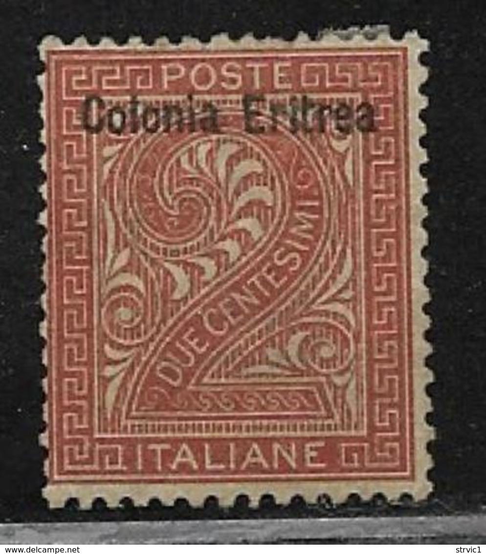 Eritrea Scott # 2 Unused No Gum Italy Stamp Overprinted,1892 - Eritrea